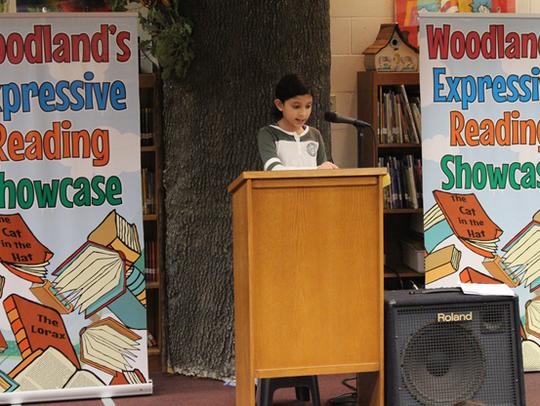"Woodland student, Eesha Jagadeesh reading ""Noodle Magic"""