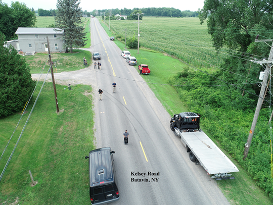 An aerial photo shows where a police pursuit ended Friday afternoon in Batavia.