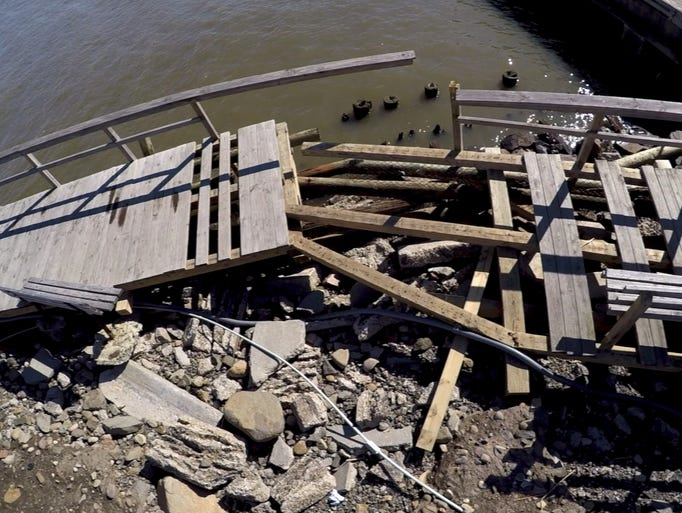 Recent winter storms damaged the boardwalk at the end