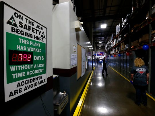 A safety sign at SRC Heavy Duty shows that, as of Friday,