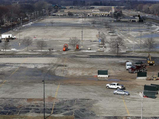 The site of the Titletown District development on approximately