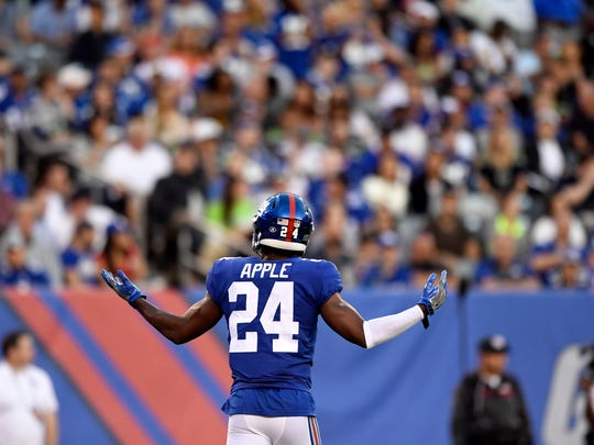 New York Giants cornerback Eli Apple (24) reacts after breaking up a Seahawks touchdown pass in the first half. The Seattle Seahawks defeat the New York Giants 24-7 on Sunday, October 22, 2017 in East Rutherford, NJ.