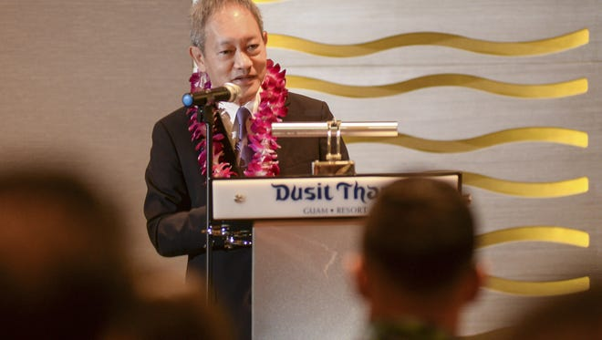 Chanin Donavanik, Dusit International managing director and CEO, speaks during a press conference at the Dusit Thani Guam Resort in Tumon on Monday, Nov. 23. The hotel celebrated the opening of the Guam Convention Center that consists of a grand ballroom, two royal ballrooms, 2 wedding salons with an adjoining living room and three meeting rooms designated as the cellar, the pantry and a study. The grand ballroom can accommodate 1,000 people.