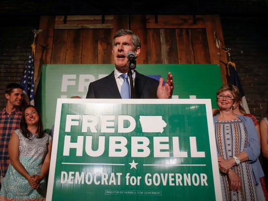 Iowa Democratic candidate for governor Fred Hubbell speaks at the River Center in Des Moines on Tuesday, June 5, 2018, after winning the primary election.