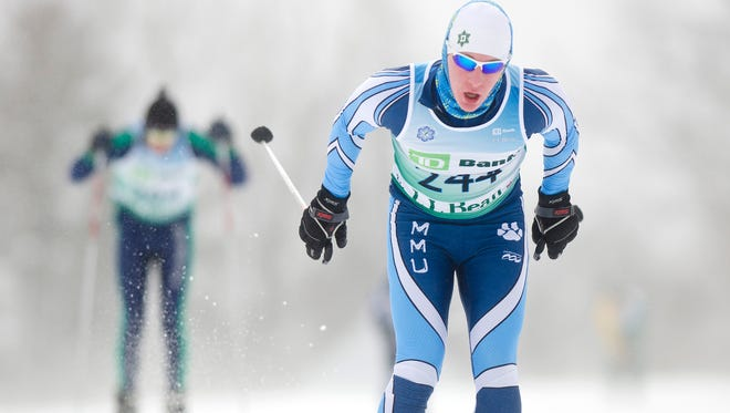 Mount Mansfield's Alec Pelton races during the 2014 Nordic skiing state championship event at Mountain Top in Chittenden. He finished seventh in Thursday's freestyle finals at Craftsbury.
