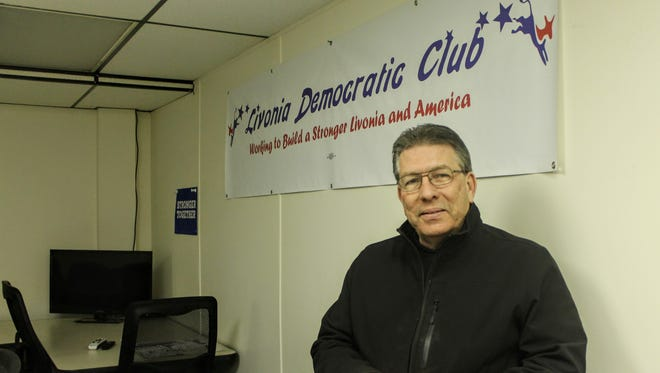 Livonia Democratic Club President Karl Burnett in the club's new permanent office on Schoolcraft. Burnett said this is the first time the club has opened a permanent office in the city.