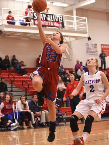 Licking Valley sophomore Laken Griffith breaks past