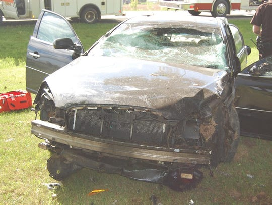 Two teenagers were injured in a one-car crash south
