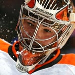 Michal Neuvirth made 27 saves against his former team Wednesday night to give the Flyers a win heading into the All-Star break.