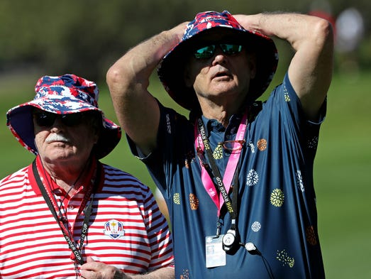 Film actor Bill Murray on the 12th hole during the