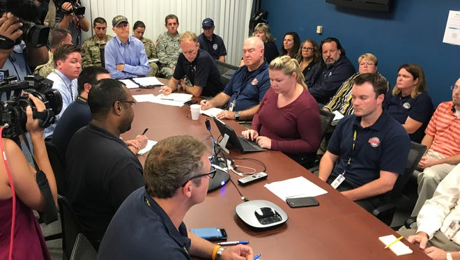 Gov. Rick Scott met with state and federal agency chiefs at the Florida Emergency Operations Center in Tallahassee. As of Monday, Hurricane Irma threatened the southern half of the state.