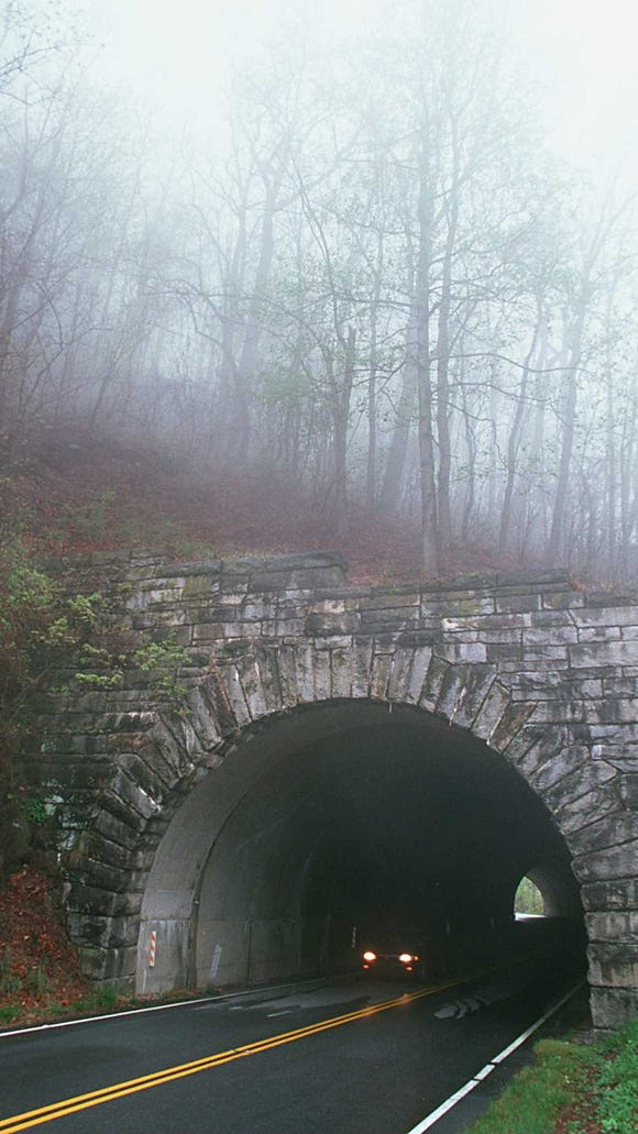 A car makes it's way through Ferrin Knob Tunnel #3 on the Blue Ridge Parkway near Mt. Pisgah in this file photo.
