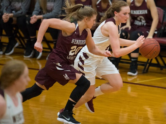 Webster County's Marissa Austin (2) is guarded by Henderson's Kaytlan Kemp (20) at Webster County High School Tuesday night.