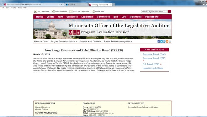 The Minnesota Office of the Legislative Auditor's website.