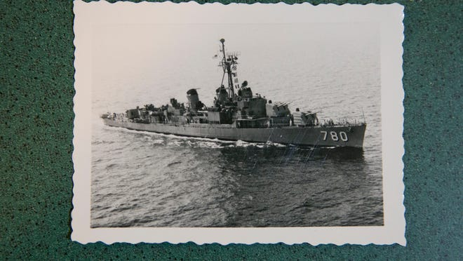 A photo of the boat on which veteran Jerome Dobbe served.