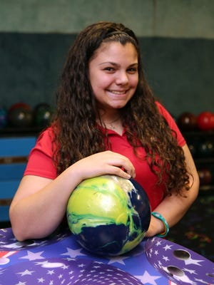 Meagan Collins from North Rockland High School is The Journal News Rockland girls bowler of the year. Here she is pictured at the Hi-Tor Lanes in West Haverstraw, April 4, 2015.