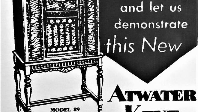 Radio advertisement in 1930.