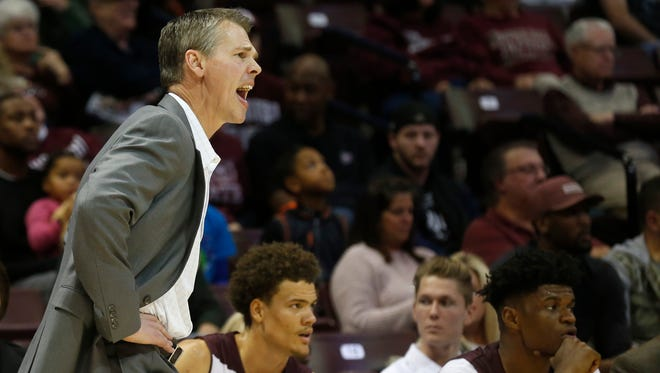 Coach Paul Lusk shouts instructions from the sidelines in the Bears 86-58 win over Southern University in the Missouri State University's home opener at JQH Arena on Wednesday, Nov. 15, 2017.