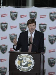 Green Bay Packers President and CEO Mark Murphy announces Carmex as the sponsor of the Lambeau Field College Classic scheduled for Labor Day weekend.
