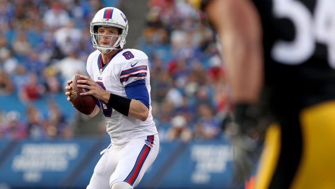 Bills quarterback Matt Simms (8) looks to throw a pass during the second half against the Pittsburgh Steelers on Aug. 29.
