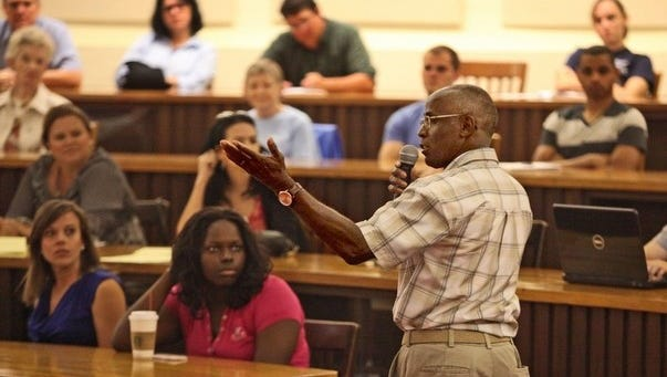 James Bain, who served 35 years in prison, was exonerated in 2009 and is now an advocate against wrongful conviction. Here, he speaks to the audience at Florida Southern College, located in the Polk County where his trial transpired.