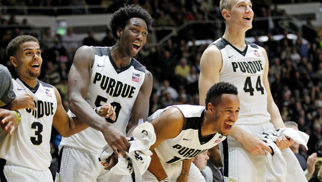 P.J. Thompson, from left, Caleb Swanigan, Vince Edwards and Isaac Haas erupt on the Purdue bench after Jacquil Taylor stole the ball and drove for a score against Howard Wednesday, December 9, 2015, at Mackey Arena. Purdue thumped Howard 93-55.