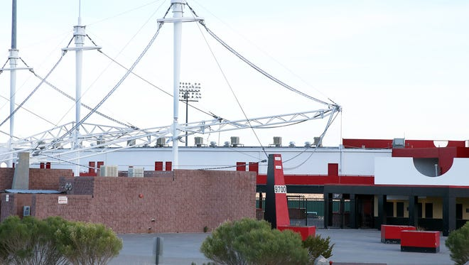 The awnings at Cohen Stadium in Northeast El Paso were shredded by high winds. A city plan calls for demolishing the stadium and replacing it with a year-round entertainment and sports complex.