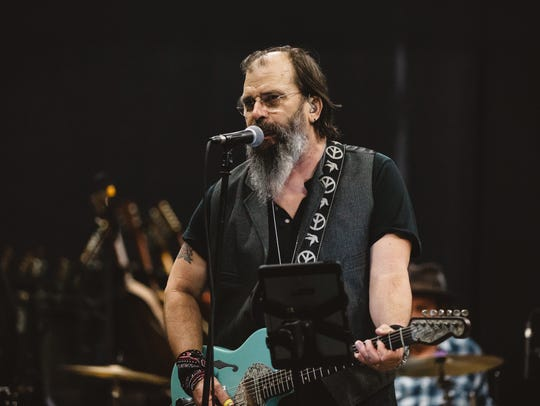 Steve Earle performing at Sirius XM studios.