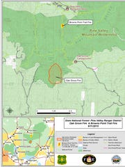 A map showing the location of the Brown Trail Fire and the Oak Grove Fire positions as of Friday, Sep. 11, 2015.