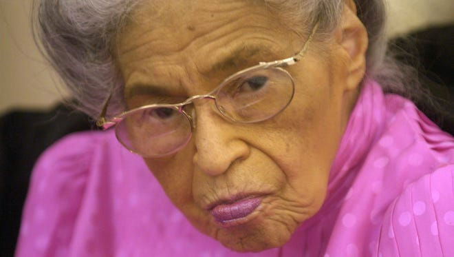 Rosa Parks is shown during her 90th birthday celebration with family and friends Feb. 13, 2003, in Detroit.