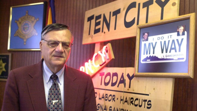 Maricopa County Sheriff Joe Arpaio stands in his office on May 17, 2000.