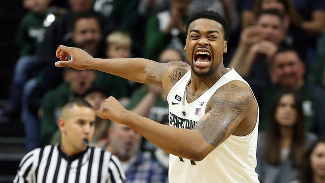 Michigan State Spartans forward Nick Ward (44) reacts to a play during the first half of a game against the Cleveland State Vikings at Jack Breslin Student Events Center.