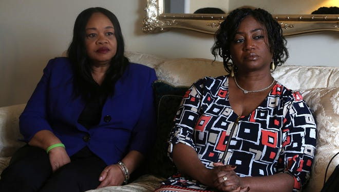 Sandra Thompson, right, speaks alongside Sandra Harrison, both golfers and members of a group of women known as Sisters in the Fairway, during an interview with The Associated Press on Tuesday, April 24, 2018, in York, Pa. Officials at the Grandview Golf Club in York called police on the group Saturday, April 21, 2018, accusing them of playing too slowly and holding up others behind them.