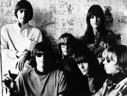 Jefferson Airplane shown in 1966. At top right is vocalist
