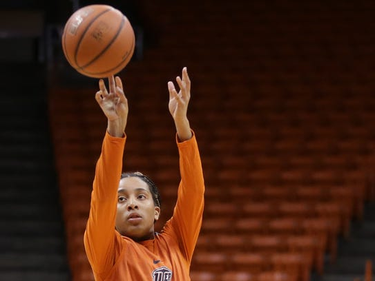 UTEP freshman guard Rachel Tapps takes a shot during