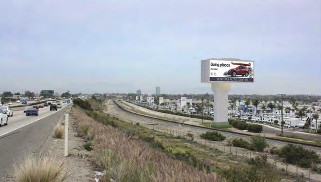 Image shows what proposed Ventura Auto Center sign could look like off Highway 101.