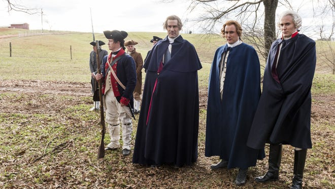 Here comes the general and his right-hand man:  George Washington (Ian Kahn, left), Alexander Hamilton (Sean Haggerty) and the Marquis de Lafayette (Brian Wiles).