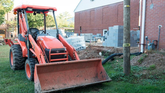 Construction on an addition to Harwood Home for Funerals is underway.
