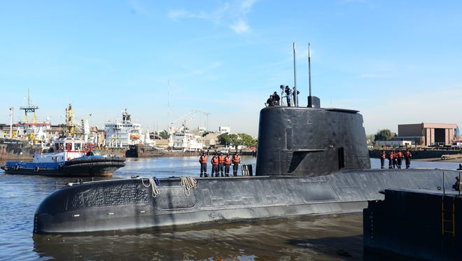 An undated handout photo made available by the Argentine Navy on Nov. 17, 2017 shows the ARA San Juan submarine.