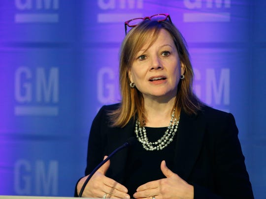 General Motors CEO Mary Barra talks with media prior to the start of the 2015 General Motors Company Annual Meeting of Stockholders Tuesday, June 9, 2015, at GM Global Headquarters in Detroit.