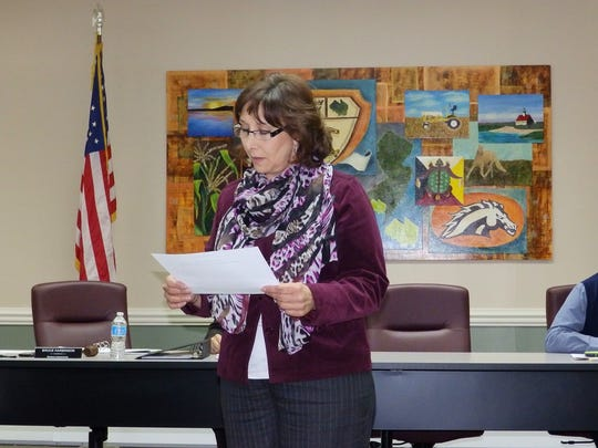 Valerie Wojcik takes the oath of office as a newly elected member of the Cumberland Regional Board of Education.