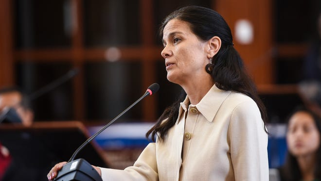 Vice Speaker Therese Terlaje on the session floor at the Guam Congress Building on April 28, 2017.