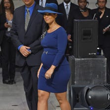 Musician Alicia Keys performs during the Ruby Dee Memorial Service at Assembly Hall of the Riverside Church on September 20, 2014 in New York City.