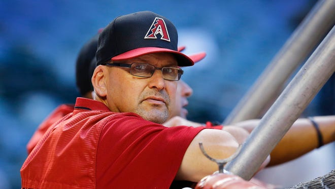 Diamondbacks assistant hitting coach Mark Grace looks on prior to a game against the  Texas Rangers on Tuesday, April 21, 2015 in Phoenix