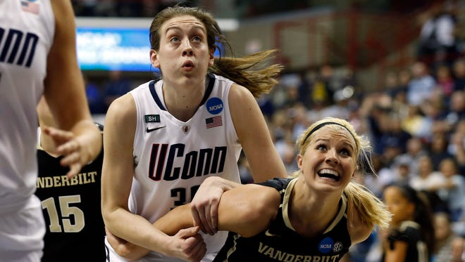 Vanderbilt Commodores forward Heather Bowe (3) looks for the rebound against Connecticut Huskies forward Breanna Stewart (30) in the second half during the second round of the 2013 NCAA womens basketball tournament at Gampel Pavilion. UConn defeated the Commodores 77-44.