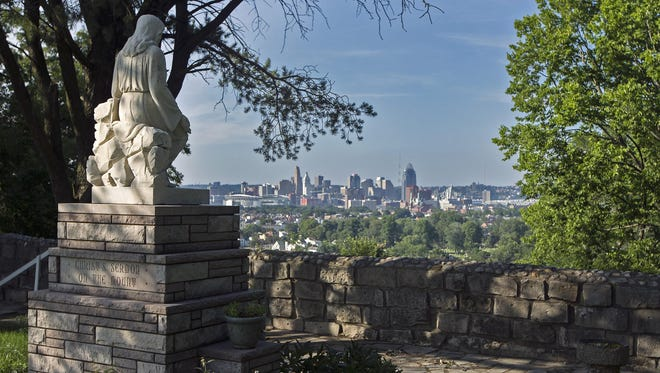 "The ""Christ's Sermon on the Mount"" statue overlooks the Ohio River Valley from the Garden of Hope Park in Covington, Kentucky, on Thursday. The Kenton County Planning and Development Services is currently conducting a survey of urban parks, to ""help guide future investment into the park system,"" according to the county."