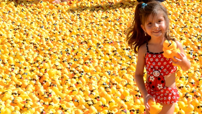 Images from the Nevada Humane Society's sixth annual Duck Race & Festival held on Sunday at Wingfield Park. Thousands of rubber duck were dumped into the Truckee River and floated from the Arlington Street Bridge toward Sierra Street.
