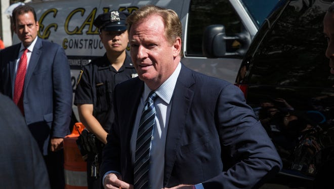 Roger Goodell arrives at federal court to defend his decision to suspend New England Patriots' quarterback Tom Brady for four games.