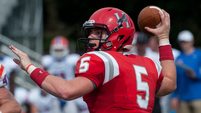 Huntingdon quarterback Luke Bailey, shown in a game last year, was responsible for six touchdowns in Saturday's win over Belhaven.