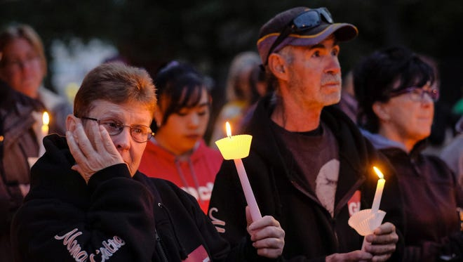 Residents gather for a candlelight vigil for Hailey Dunbar-Blanchette in Blairmore, Alberta, on Tuesday.
